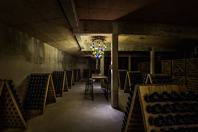 Champagne Mathelin cellar, ready for tasting